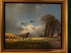 STEADY THERE, THEM'S SPITFIRES by FRANK WOOTTON - ORIGINAL OIL