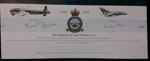 """<big><center> """"The Dambusters"""" by Frank Wooton<br/>50th Anniversary of 617 Squadron<br/></center></big>"""