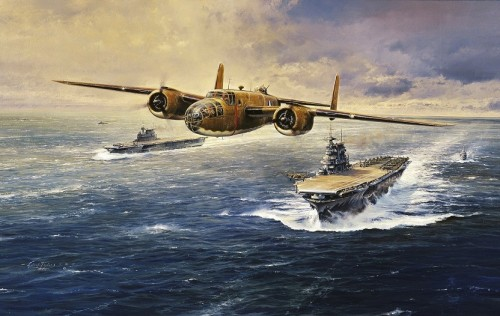 """The Doolittle Tokyo Raiders <br>Giclee Canvas Edition <br> By Robert Taylor<br>  <b style= """"color: blue; font-weight:bold,"""">    Doolittle Raid</b>"""