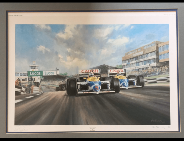 """<big><center> """"True Brit"""" by Alan Fearnley<br>Nigel Mansell signature<br>#671 of 850<br> Formula One - Signed Limited Edition Print <b/>"""