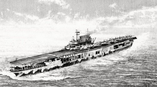 "USS Hornet by Richard Taylor<br>Companion print to Out of  The Dragon's Den<br> <b style= ""color: blue; font-weight:bold,"">    Doolittle Raid</b>"