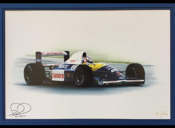 <big><center> Williams #5, Nigel Mansell Signed<br> limited edition fine art print</big></center>