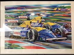 """<big><center> """"Williams/Williams"""" by Randy Owens<br>#104 of 140<br>Signed by Mansell, Patrese and Owens</big><center>"""