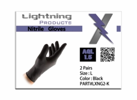 Lightning X EMS Black Nitrile Gloves - Large (Pack of 2)