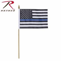 Rothco Thin Blue Line Stick Flag (4in x 6in)