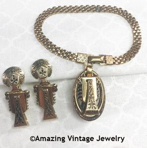Antique Gold Bracelet and Earrings Set