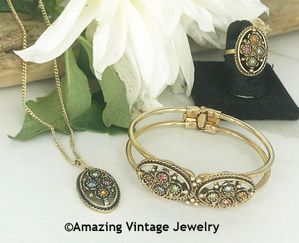 Emmons FLORAL ANTIQUE Necklace, Bracelet & Ring Set