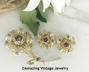 FASHION FLOWER Pin & Earrings Set