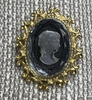 Gold & Black Glass Cameo Pin