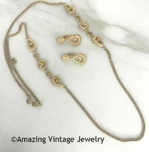 Goldtone Chain Necklace and Ring with Rhinestones  CANADA