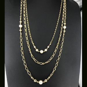 Goldtone & Faux Pearl Layered Necklace