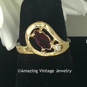 Goldtone Ring with Red Marquise Stone