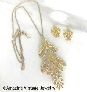 Goldtone Peacock Necklace & Earrings Drops - Canada