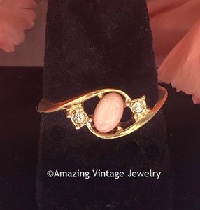 Goldtone Ring with Pink Cabochon