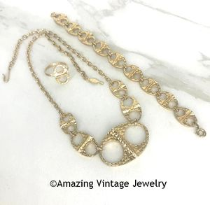 Hammered Goldtone Necklace, Bracelet & Ring Set CANADA
