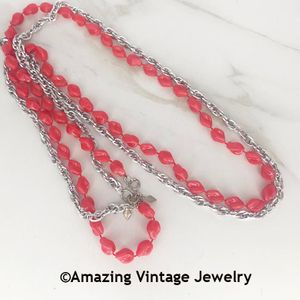 HOLIDAY BEADS Necklace - Red and Silvertone