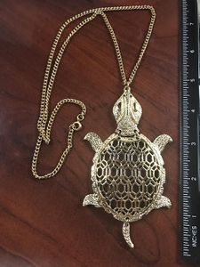 Large Articulated Turtle Pendant Necklace