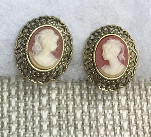 Small Gold Clip Cameo Earrings