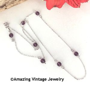 STERLING BIRTH CHAIN - February Amethyst