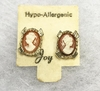 Tiny Gold Framed Cameo Pierced Earrings
