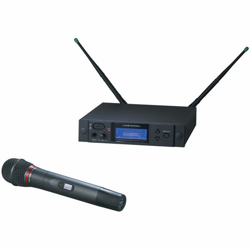 AUDIO-TECHNICA AEW-4260AD 4000 Series Wireless System includes: AEW-R4100 receiver and AEW-T6100a hypercardioid dynamic microphone/transmitter, 655.500-680.375 MHz (TV 44-49)