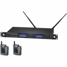 AUDIO-TECHNICA AEW-5111AD 5000 Series Wireless System includes: AEW-R5200 dual receiver and two AEW-T1000a UniPak transmitters, 655.500-680.375 MHz (TV 44-49)