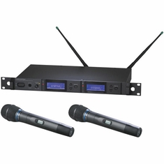 AUDIO-TECHNICA AEW-5233AD 5000 Series Wireless System includes: AEW-R5200 dual receiver and two AEW-T3300a handheld cardioid condenser microphone/transmitters, 655.500-680.375 MHz (TV 44-49)