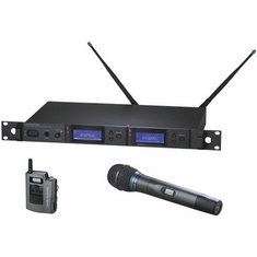 AUDIO-TECHNICA AEW-5313AD 5000 Series Wireless System includes: AEW-R5200 dual receiver, AEW-T1000a UniPak transmitter and AEW-T3300a handheld cardioid condenser microphone/transmitter, 655.500-680.375 MHz (TV 44-49)