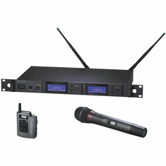 AUDIO-TECHNICA AEW-5316AC 5000 Series Wireless System includes: AEW-R5200 dual receiver, AEW-T1000a UniPak transmitter and AEW-T6100a handheld hypercardioid dynamic microphone/transmitter, 541.500-566.375 MHz (TV 25-30)