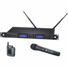 AUDIO-TECHNICA AEW-5316AD 5000 Series Wireless System includes: AEW-R5200 dual receiver, AEW-T1000a UniPak transmitter and AEW-T6100a handheld hypercardioid dynamic microphone/transmitter, 655.500-680.375 MHz (TV 44-49)