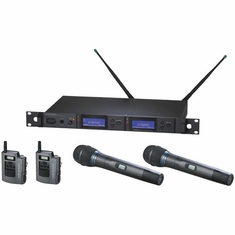 AUDIO-TECHNICA AEW-5413AD 5000 Series Wireless System includes: AEW-R5200 dual receiver, two AEW-T1000a UniPak transmitters, and two AEW-T3300a cardioid condenser microphone/transmitters, 655.500-680.375 MHz (TV 44-49)