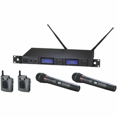 AUDIO-TECHNICA AEW-5414AC 5000 Series Wireless System includes: AEW-R5200 dual receiver, two AEW-T1000a UniPak transmitters, and two AEW-T4100a cardioid dynamic microphone/transmitters, 541.500-566.375 MHz (TV 25-30)