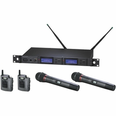 AUDIO-TECHNICA AEW-5414AD 5000 Series Wireless System includes: AEW-R5200 dual receiver, two AEW-T1000a UniPak transmitters, and two AEW-T4100a cardioid dynamic microphone/transmitters, 655.500-680.375 MHz (TV 44-49)