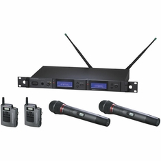 AUDIO-TECHNICA AEW-5416AD 5000 Series Wireless System includes: AEW-R5200 dual receiver, two AEW-T1000a UniPak transmitters, and two AEW-T6100a hypercardioid dynamic microphone/transmitters, 655.500-680.375 MHz (TV 44-49)