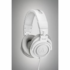 AUDIO-TECHNICA ATH-M50WH Closed-back dynamic monitor headphones,collapsible design, coiled cable, white