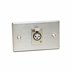 CAD AUDIO 40-347 Stainless Steel Single 3-pin XLR-F Connector on Duplex Wall Plate