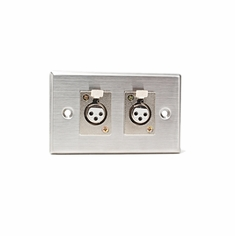 CAD AUDIO 40-348 Stainless Steel Dual 3-pin XLR-F Connectors on Duplex Wall Plate