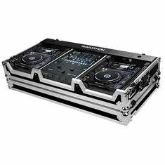 MARATHON ® FLIGHT ROAD CASE ™ CASE TO HOLD 2 X LARGE FORMAT CD PLAYERS: PIONEER CDJ-2000 + RAVE SIXTY-TWO SERATO MIXER W/ LOW PROFILE WHEELS