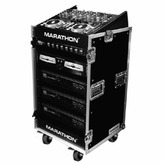 MARATHON � FLIGHT ROAD CASE � MA-1016WE 10U SLANT MIXER RACK / 16 U VERTICAL RACK SYSTEM W/CASTER BOARD (LIGHT MEDIUM DUTY)