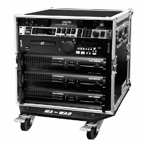 "MARATHON FLIGHT ROAD CASE MA-10UAD21W   10U AMPLIFIER DELUXE CASE - 21"" BODY DEPTH W/ WHEELS"