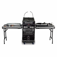 MARATHON FLIGHT ROAD CASE MA-14M16UWT2 14u Slant Mixer Rack/16u Vertical Rack System with Caster Board and Table