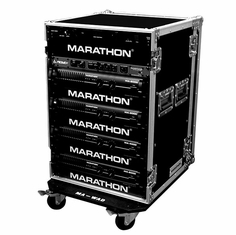 MARATHON FLIGHT ROAD CASE MA-16UAD21W 16U  AMPLIFIER DELUXE CASE WITH WHEELS