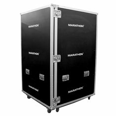 "MARATHON ® FLIGHT ROAD CASE ™ UTILITY TRUNK CASE - EXTERIOR 48""W X 48""D X 72""H (4ftx4ftx6ft) WITH CASTER KIT - IDEAL FOR TRADE SHOW AND EXHIBITION - 1/2 INCH PLYWOOD CONSTRUCTION - SPECIAL ORDER"