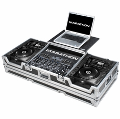 """MARATHON MA-CDJ2K19WLT Coffin holds 2 x Large Format CD Players: Pioneer CDJ-2000, +12"""" Mixer and Laptop Shelf with Low Profile Wheels"""