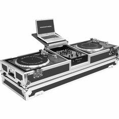 """MARATHON MA-DJ10WLT - STANDARD   Holds 2 Turntables in Standard Style position with 10"""" Mixer w/ Wheels & Laptop Shelf"""