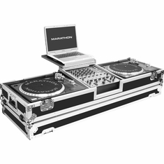 """MARATHON MA-DJ12WLT   Holds 2 Turntables in Standard Style position with 12"""" Mixer w/ Wheels & Laptop Shelf"""