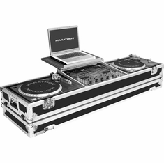 """MARATHON MA-DJ19WLT   Holds 2 Turntables in Standard Style position with 19"""" Mixer w/ Wheels & Laptop Shelf"""