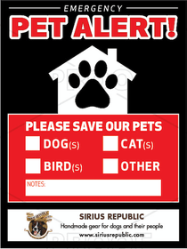 Pet Alert Window Cling