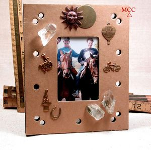 A BOY'S LIFE - Jewelled Picture Frame with Rare Arkansas Green Chlorite Phantom Rock Crystals, Gold and Copper Charms, Kraft Paper