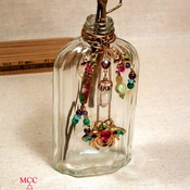 ANTIQUE BUD BOTTLE - Capped Arkansas Rock Crystal and Amethyst, Peridot, Malachite, Turquoise...Brass Flowers and Bee for That Special Bouquet